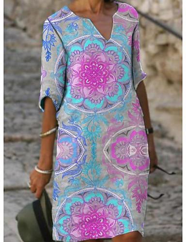 cheap Print Dresses-Women's Shift Dress Knee Length Dress - Half Sleeve Floral Spring Summer Casual 2020 Blushing Pink S M L XL XXL XXXL