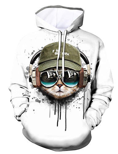 cheap Men's Clothing-Men's Pullover Hoodie Sweatshirt Graphic Animal Hooded Daily Going out 3D Print Casual Hoodies Sweatshirts  White