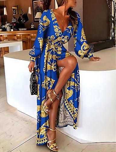 preiswerte Bedruckte Kleider-Damen Etuikleid Maxikleid - Langarm Druck Patchwork Sommer Freizeit Party 2020 Blau M L XL XXL XXXL