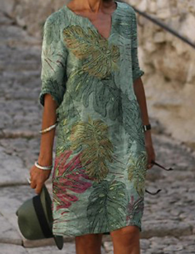 cheap Print Dresses-Women's Shift Dress Knee Length Dress - Half Sleeve Leaf Print Summer V Neck Casual Daily Loose 2020 Green M L XL XXL XXXL