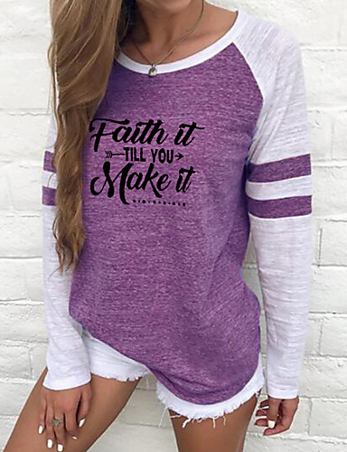cheap Women's T-shirts-Women's Holiday Faith T-shirt Solid Colored Long Sleeve Round Neck Tops Cotton Basic Top Black Purple Red