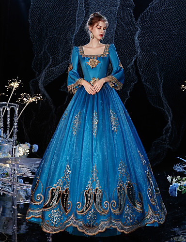 cheap Historical & Vintage Costumes-Princess Shakespeare Rococo Gothic Vintage Inspired Medieval Dress Party Costume Masquerade Women's Costume Blue Vintage Cosplay Party Masquerade Wedding Party 3/4-Length Sleeve Ball Gown