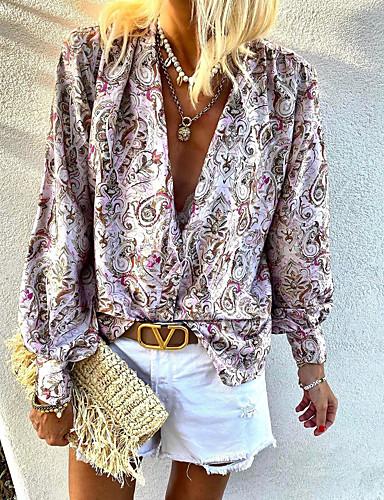 cheap Exclusives-Women's Going out Blouse Shirt Paisley Long Sleeve Print V Neck Tops Lantern Sleeve Chiffon Elegant Boho Basic Top Blushing Pink