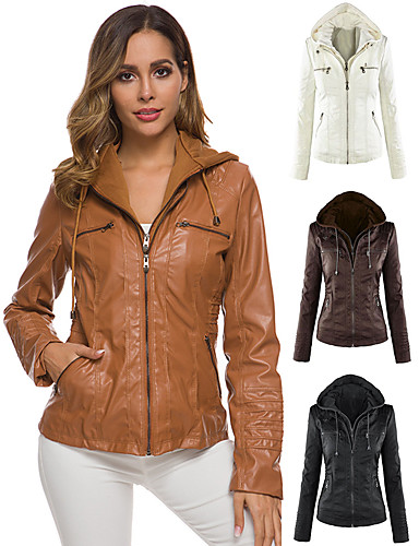 cheap Women's Leather & Faux Leather Jackets-Women's V Neck Winter Faux Leather Jacket Short Solid Colored Sports Plus Size Beaded White Black Light Brown XS S M