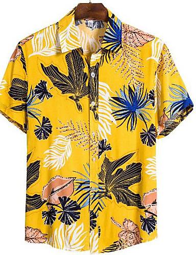 abordables Chemise hawaïen-Homme Quotidien Chemise Graphique Manches Courtes Hauts Tropique Jaune