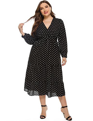 cheap Plus Size Dresses-Women's A-Line Dress Midi Dress - Long Sleeve Polka Dot Fall Winter V Neck Casual Daily Loose 2020 Black XL XXL XXXL XXXXL XXXXXL