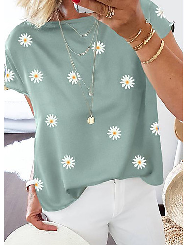 cheap Women's T-shirts-Women's Going out T-shirt Floral Flower Daisy Print Round Neck Tops Cotton Basic Basic Top Blue Purple Khaki