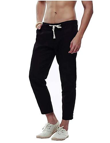 cheap Sweatpants-Men's Basic Daily Slim Linen Sweatpants Pants Solid Colored Sports Summer Fall White Black Khaki US32 / UK32 / EU40 US34 / UK34 / EU42 US36 / UK36 / EU44 / Drawstring