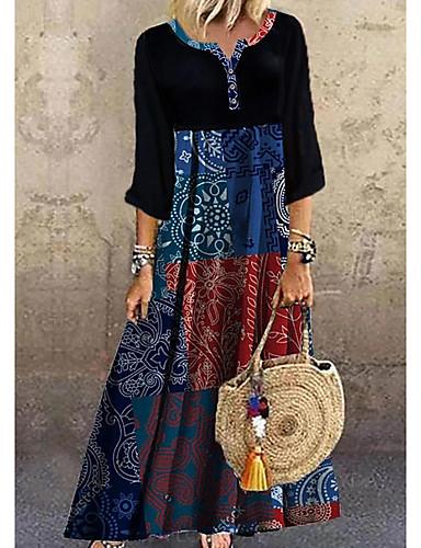 cheap Print Dresses-Women's Shift Dress Maxi long Dress - Half Sleeve Print Print Summer Casual Boho Daily Vacation 2020 Black S M L XL XXL XXXL