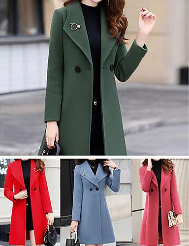 cheap Women's Coats & Trench Coats-Women's Buttoned Front Fall Coat Long Solid Colored Daily Red Army Green Orange S M L / Winter