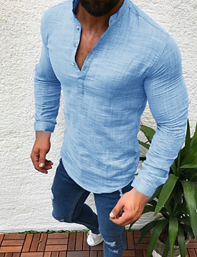 cheap Henley Shirts-Men's Daily Wear Plus Size Shirt Solid Colored Long Sleeve Tops Linen Round Neck White Black Gray