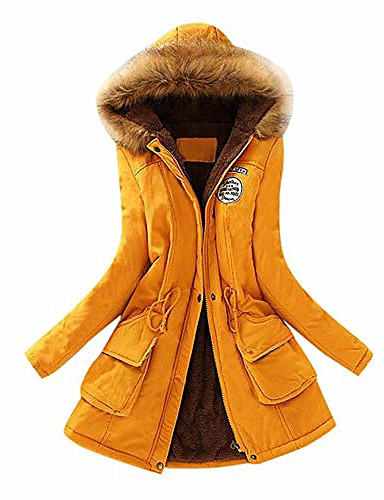 cheap Women's Coats & Trench Coats-Women's Parka Regular Light Blue Lake blue Navy S M L