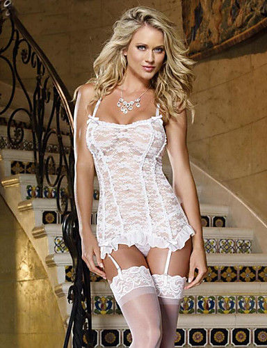 cheap Sexy Bodies-Women's Lace Bow Mesh Suits Nightwear Jacquard Solid Colored Embroidered White S M L