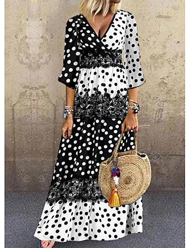 cheap Women's Dresses-Women's Shift Dress Maxi long Dress - 3/4 Length Sleeve Polka Dot Patchwork Summer Casual Daily 2020 Black M L XL XXL XXXL
