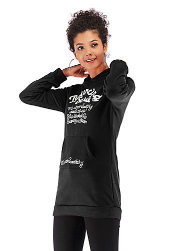 billige Gensere og cardigans-Dame Daglig Genser med hette for genser Bokstaver Lomme foran Grunnleggende Gensere Gensere Svart Rød