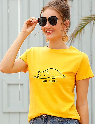 cheap Women's T-shirts-Women's T-shirt Cat Letter Print Round Neck Tops 100% Cotton Basic Basic Top White Black Purple