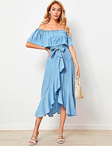preiswerte Für Junge Frauen-Damen Jeanskleider Knielanges Kleid - Ärmellos Volltonfarbe Schulterfrei Sommer Schulterfrei Elegant Leinen Blau S M L
