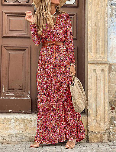 cheap Print Dresses-Women's Swing Dress Maxi long Dress - 3/4 Length Sleeve Floral Split Print Spring Fall V Neck Sexy Daily 2020 Red M L XL XXL XXXL