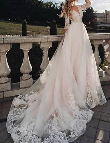 baratos Vestidos de Casamento-Linha A Vestidos de noiva Decote V Cauda Escova Tule Meia Manga Rústico com 2020