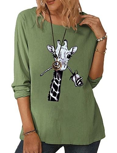 cheap Women's Blouses & Shirts-Women's T-shirt Blouse Animal Print Round Neck Tops Basic Fall White Green Gray