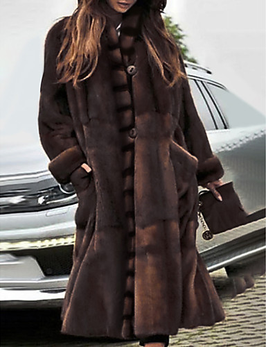 cheap Women's Furs & Leathers-Women's Stand Collar Faux Fur Coat Long Solid Colored Party Basic Brown S M L / Oversized
