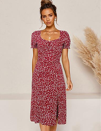 tanie Dla młodych kobiet-Damskie Sukienka ołówkowa Sukienka midi - Krótkie rękawy Kwiaty Rozcięcie Lato Casual 2020 Czarny Czerwony S M L XL