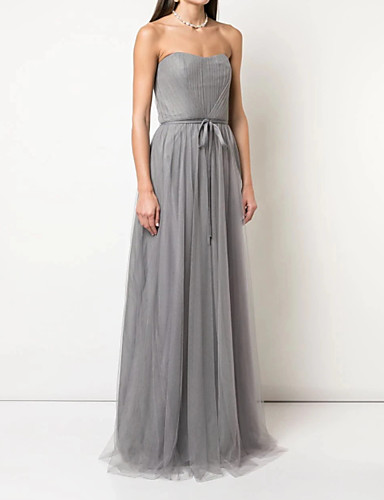 cheap Bridesmaid Dresses-A-Line Strapless Floor Length Tulle Bridesmaid Dress with Sash / Ribbon / Pleats