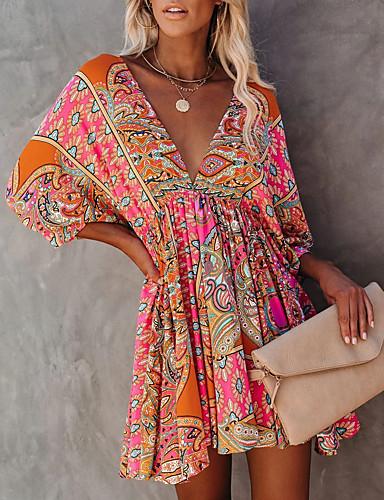 cheap Print Dresses-Women's A-Line Dress Maxi long Dress - Short Sleeve Floral Backless Print Summer V Neck Sexy Daily Batwing Sleeve Slim 2020 Red S M L XL XXL