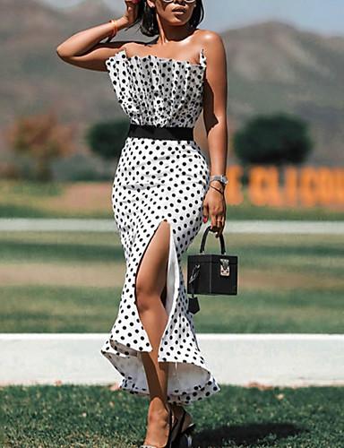 cheap Print Dresses-Women's A-Line Dress Maxi long Dress - Sleeveless Polka Dot Backless Ruffle Ruched Summer Strapless Elegant Sexy Daily Slim 2020 White S M L XL XXL