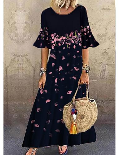 رخيصةأون عروض حصرية-نسائي فستان شيفت فستان طويل - نصف كم ورد طباعة طباعة الصيف كاجوال مناسب للبس اليومي كم مضيئة فضفاض 2020 أزرق M L XL XXL XXXL
