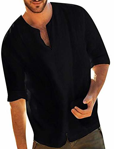 cheap Henley Shirts-but& #39;s retro v-neck henley shirts 3/4 sleeve baggy cotton linen t shirts tops& #40;black,m& #41;
