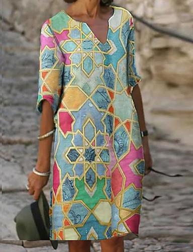 preiswerte Bedruckte Kleider-Damen Etuikleid Knielanges Kleid - Halbe Ärmel Tribal Druck Herbst V-Ausschnitt Freizeit Alltag Lose 2020 Blau S M L XL XXL XXXL