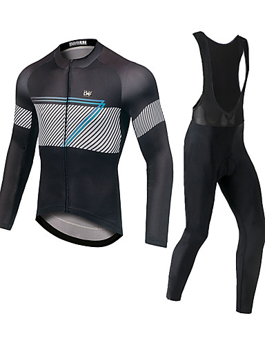 cheap Cycling Jersey & Shorts / Pants Sets-CAWANFLY Men's Long Sleeve Cycling Jersey with Bib Tights Black / White Bike Moisture Wicking Sports Mountain Bike MTB Road Bike Cycling Clothing Apparel / Expert / Racing / Stretchy / Athletic