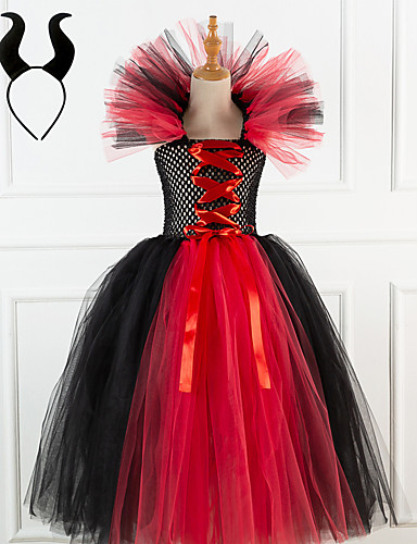 cheap Halloween & Carnival Costumes-Cosplay Dress Kid's Toddler Girls' Cosplay Vacation Dress Festival Christmas Halloween New Year Festival / Holiday Tactel Red / Pink / Beige Easy Carnival Costumes Vampires Vintage / Headwear