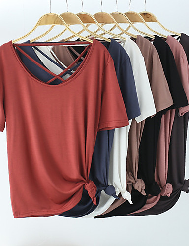 cheap Women's Blouses & Shirts-Women's Blouse Solid Colored Criss Cross Round Neck Tops Slim Sexy Basic Top White Black Blue