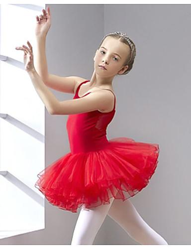 billige Ballettantrekk-Ballet Trikot / Heldraktskostymer Solid Jente Trening Ytelse Ermeløs Naturlig Bomull