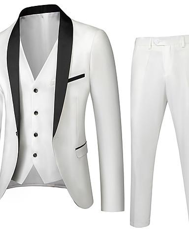 abordables Costume / Tailleur-Homme Boutonnage Simple Col châle costumes Couleur Pleine Blanche / Bleu / Vin US32 / UK32 / EU40 / US34 / UK34 / EU42 / US36 / UK36 / EU44