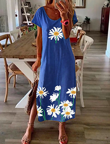 cheap Print Dresses-Women's Shift Dress Maxi long Dress - Short Sleeve Daisy Floral Print Summer Casual Vacation Loose 2020 Black Blue Yellow Gray S M L XL XXL XXXL