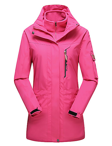 cheap Softshell, Fleece & Hiking Jackets-Women's Hoodie Jacket Hiking Jacket Winter Outdoor Solid Color Thermal / Warm Windproof UV Resistant Breathable 3-in-1 Jacket Top Single Slider Camping / Hiking Ski / Snowboard Fishing Black