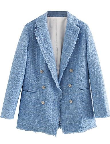 رخيصةأون بليزرات للنساء-نسائي صدر مزدوج شق الصدر علوي سترة لون سادة أزرق XS / S / M
