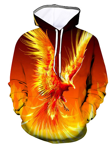 cheap Men's Clothing-Men's Hoodie Graphic Hooded Daily Going out Basic Casual Hoodies Sweatshirts  Orange
