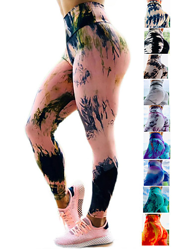 cheap Exercise, Fitness & Yoga-Women's High Waist Yoga Pants Ruched Butt Lifting Leggings Tummy Control Butt Lift 4 Way Stretch Tie Dye Dark Yellow Black / Red Black / Yellow Fitness Gym Workout Running Sports Activewear High