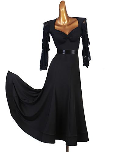 cheap Ballroom Dancewear-Ballroom Dance Dress Split Joint Women's Training 3/4 Length Sleeve High Milk Fiber