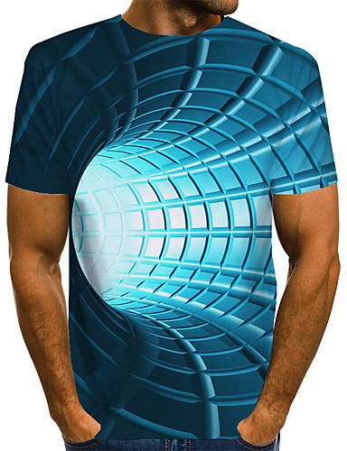 cheap Men's Clothing-Men's T shirt 3D Print Graphic Optical Illusion Print Short Sleeve Daily Tops Basic Exaggerated Blue Purple Red
