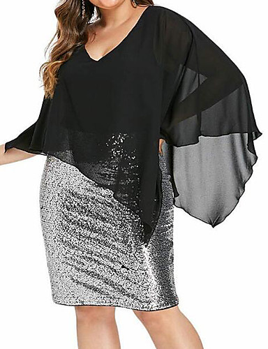 cheap Plus Size Dresses-Women's Bodycon Short Mini Dress - 3/4 Length Sleeve Color Block Solid Colored Sequins Patchwork Deep V Plus Size Elegant Cocktail Party Chiffon Slim Black XL XXL XXXL XXXXL XXXXXL