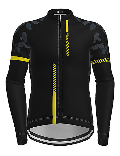 cheap Cycling Jerseys-21Grams Men's Long Sleeve Cycling Jersey Winter Spandex Polyester Black Red Yellow Patchwork Camo / Camouflage Bike Jersey Top Mountain Bike MTB Road Bike Cycling Thermal Warm UV Resistant Breathable