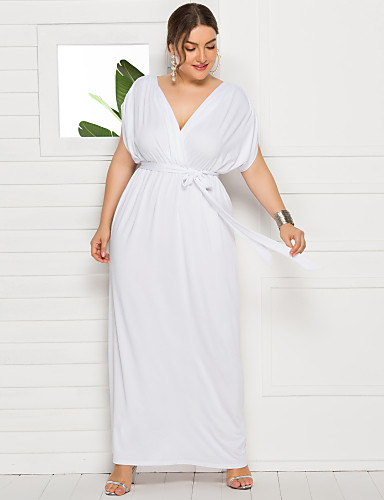 cheap Plus Size Dresses-Women's Swing Dress Maxi long Dress - Short Sleeve Solid Color Summer Fall V Neck Casual Elegant Party Daily Loose 2020 White Black Purple Wine Green Royal Blue Navy Blue M L XL XXL XXXL XXXXL