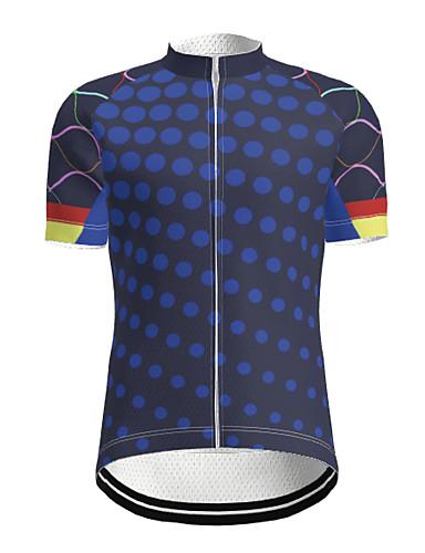 cheap Cycling Jerseys-21Grams Men's Short Sleeve Cycling Jersey Polyester Navy Purple Yellow Gradient Bike Jersey Mountain Bike MTB Road Bike Cycling Reflective Strips Sweat-wicking Sports Clothing Apparel
