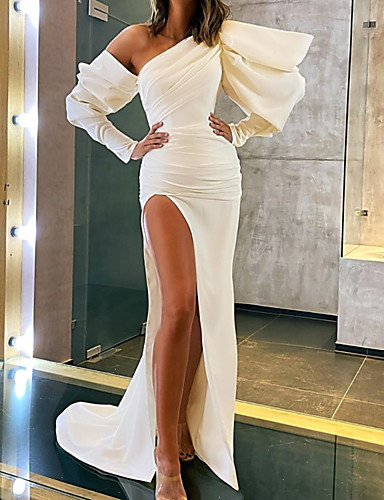 cheap Evening Dresses-A-Line Minimalist Sexy Party Wear Formal Evening Dress One Shoulder Long Sleeve Court Train Stretch Satin with Split 2020