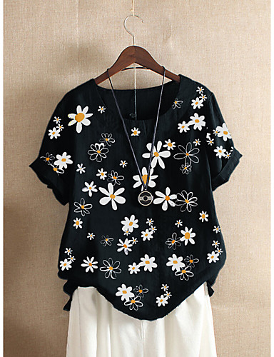 cheap Women's T-shirts-Women's T-shirt Floral Flower Printing Print Round Neck Tops Loose Cotton Basic Basic Top Black Red Green
